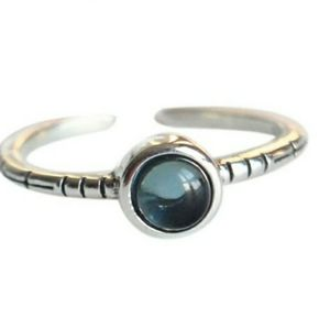 🆕️ 925 Sterling Silver Adjustable Blue Opal Ring